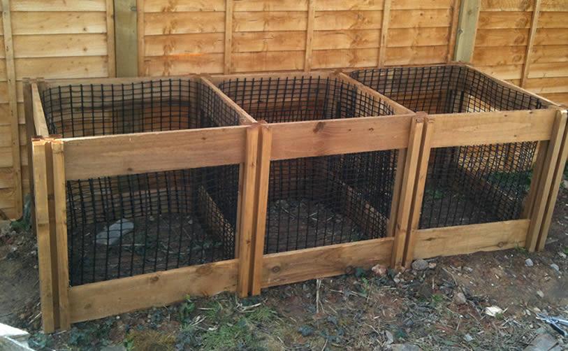 1150 Blackdown Range Triple Leaf Mould Wooden Composter