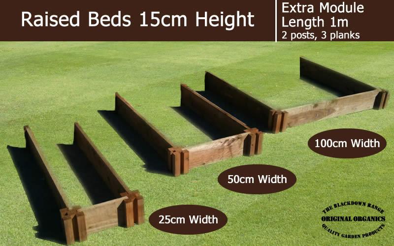 15cm High Extra Module for Raised Beds - Blackdown Range - 100cm Wide