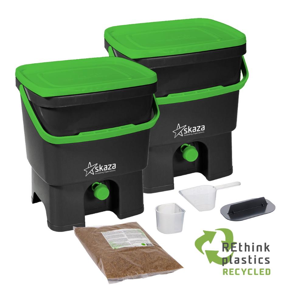 Bokashi Organko Set (2 x 16L) Black-Green with 2kg Bokashi Bran