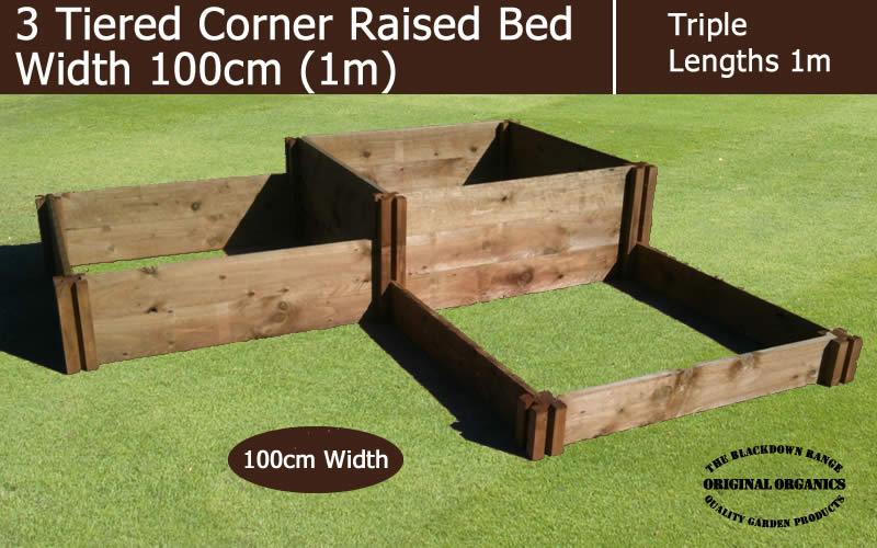 1m Wide 3 Tiered Corner Raised Bed - Blackdown Range