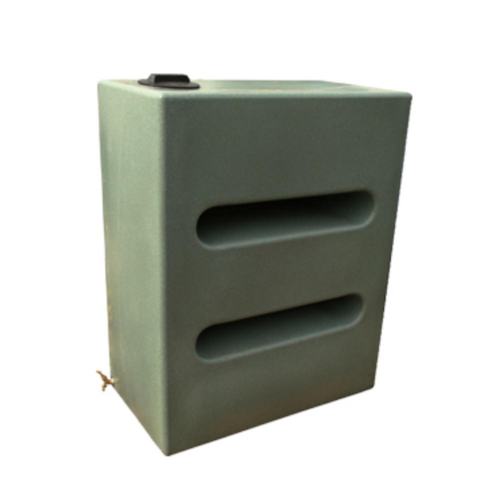 Tall 1050L rectangular baffled water butt - Green Marble