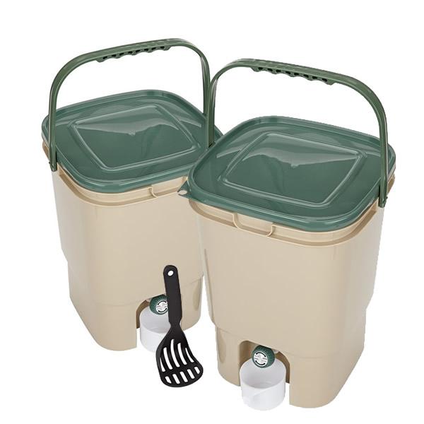 23L Double Square Bokashi Compost Bins and Kit with 2kg Bokashi Bran
