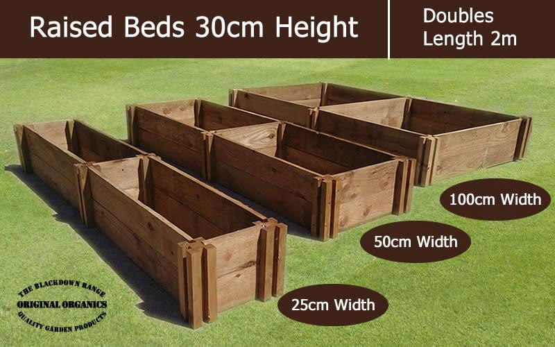 30cm High Double Raised Beds - Blackdown Range - 100cm Wide