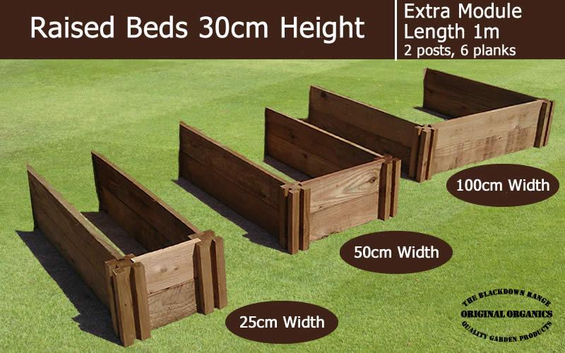 30cm High Extra Module for Raised Beds - Blackdown Range - 50cm Wide