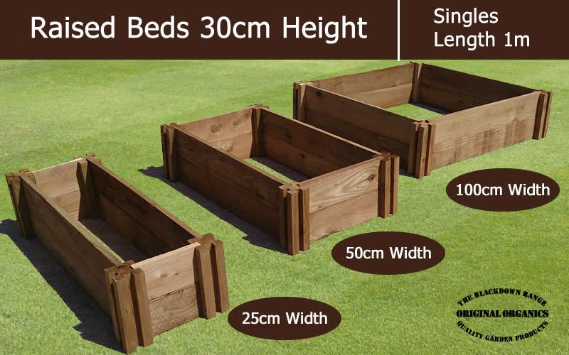 30cm High Single Raised Beds - Blackdown Range - 100cm Wide
