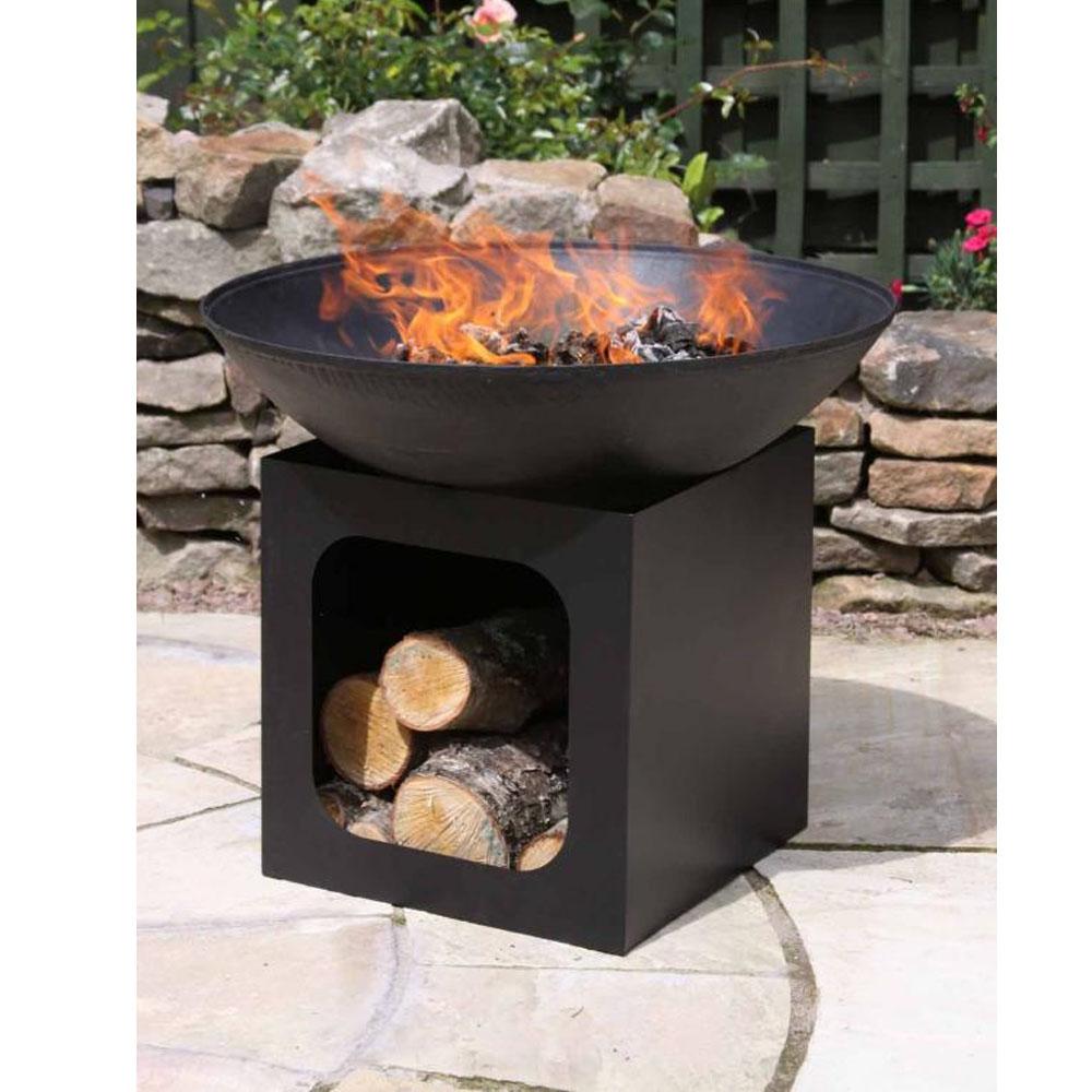 Isla Large Cast Iron Fire Bowl + Log Store
