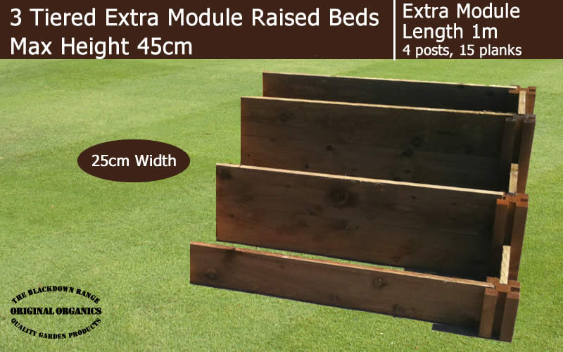 45cm High 3 Tiered Raised Beds Extra Module - Blackdown Range - 100cm Wide