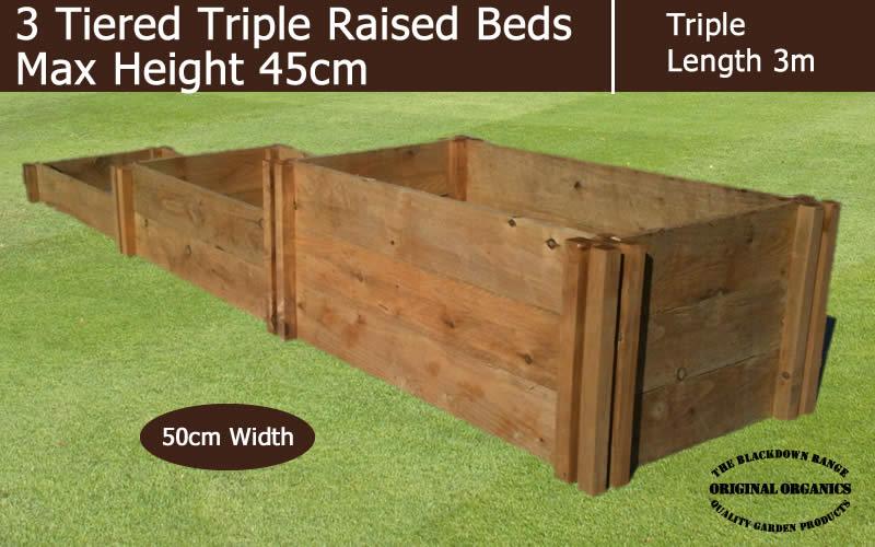 45cm High 3 Tiered Triple Raised Beds - Blackdown Range - 25cm Wide