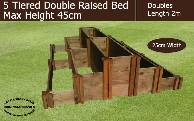 45cm High 5 Tiered Double Raised Beds - Blackdown Range - 25cm Wide