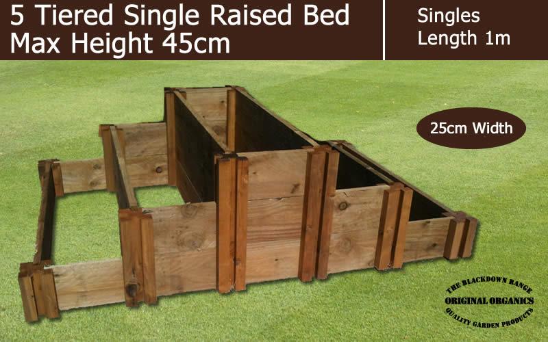 45cm High 5 Tiered Single Raised Beds - Blackdown Range - 25cm Wide