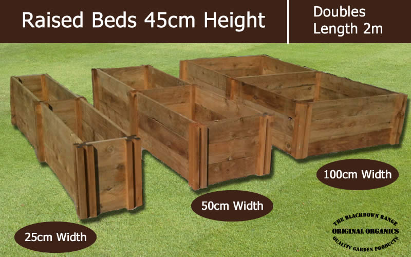 45cm High Double Raised Beds - Blackdown Range - 25cm Wide