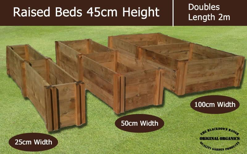 45cm High Double Raised Beds - Blackdown Range - 50cm Wide
