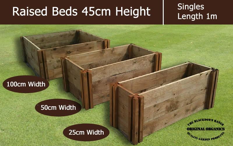 45cm High Single Raised Beds - Blackdown Range - 25cm Wide