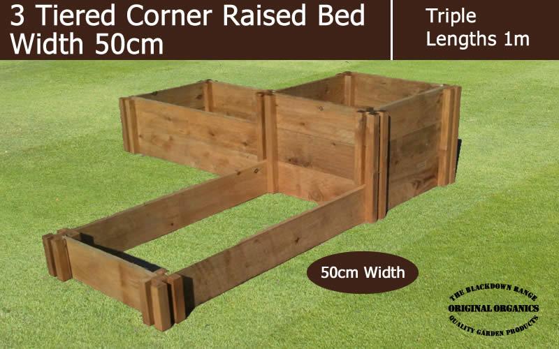 50cm Wide 3 Tiered Corner Raised Bed - Blackdown Range