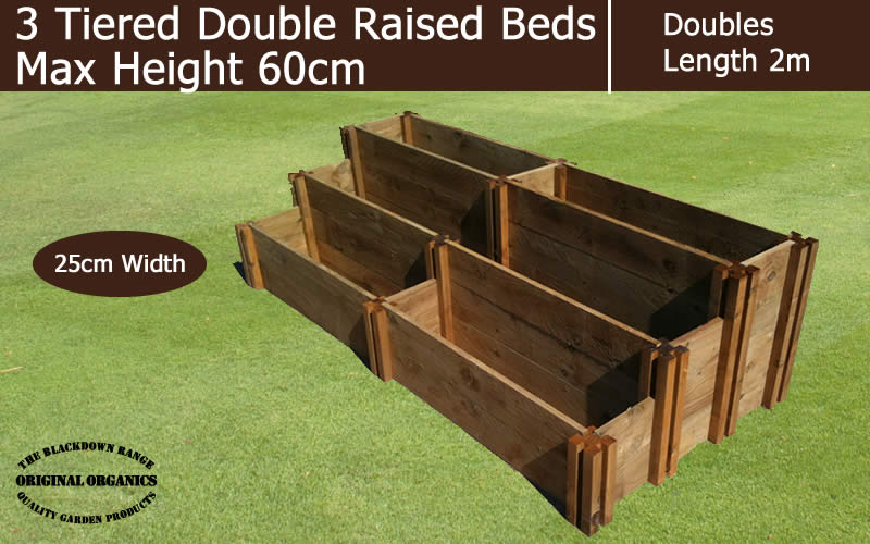 60cm High 3 Tiered Double Raised Beds - Blackdown Range - 25cm Wide