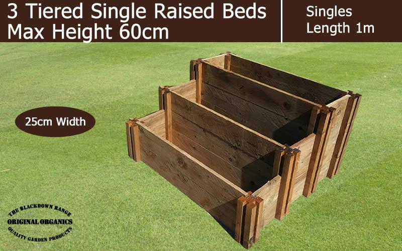 60cm High 3 Tiered Single Raised Beds - Blackdown Range - 100cm Wide