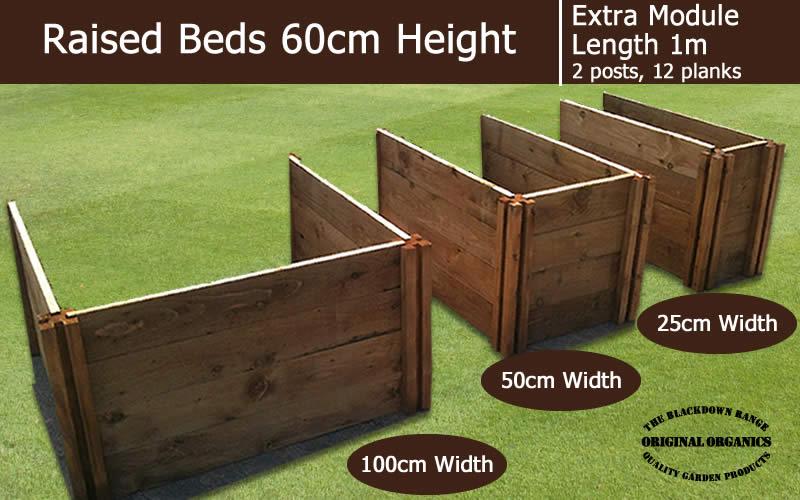 60cm High Extra Module for Raised Beds - Blackdown Range - 100cm Wide