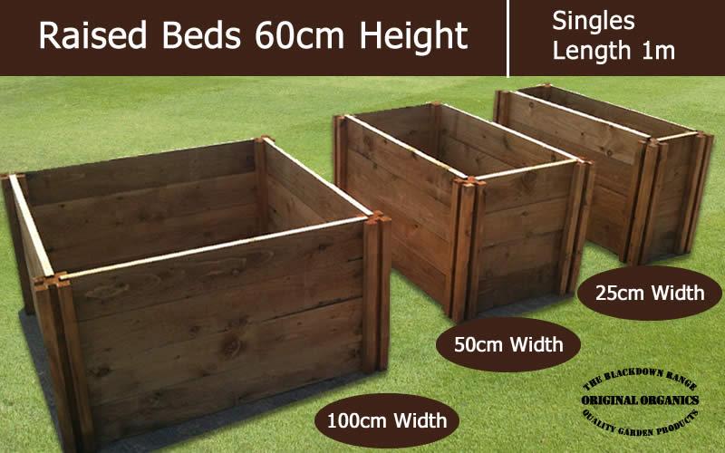 60cm High Single Raised Beds - Blackdown Range - 100cm Wide