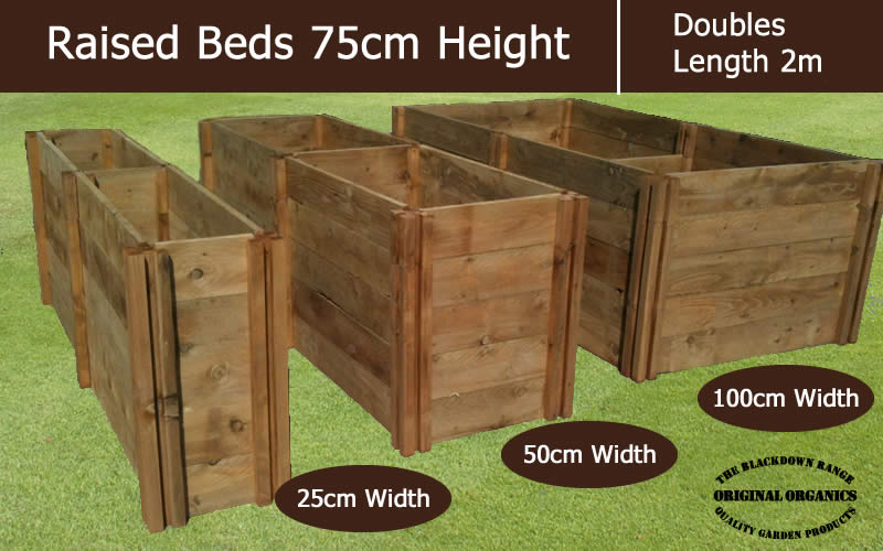 75cm High Double Raised Beds - Blackdown Range - 50cm Wide