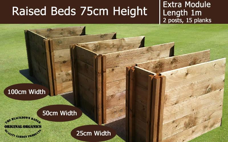 75cm High Extra Module for Raised Beds - Blackdown Range - 100cm Wide