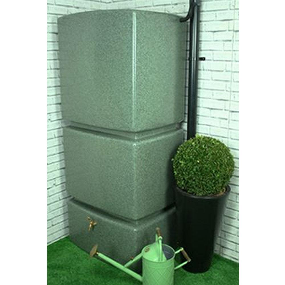 800L Vertical Slim Line Rainwater Tank in Marble Green