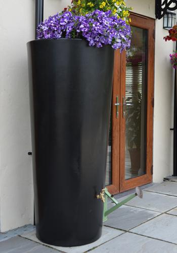 380L Garden Planter Water Butt Black with Tap Kit & Diverter
