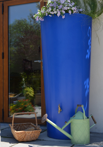 380L Garden Planter Water Butt Blue with Tap Kit & Diverter