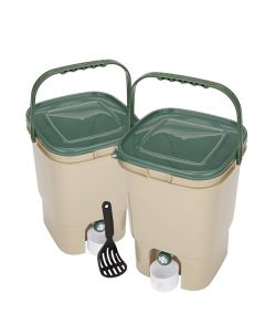 23L Double Square Bokashi Compost Bins and Kit with 2kg Bokashi Bran