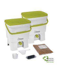 Bokashi Organko Set (2 x 16L) White-Green with 2kg Bokashi Bran