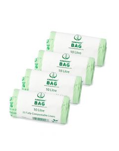 4 Pack x 10Ltr Caddy Liner - 25 Bags