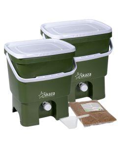 Bokashi Organko Compost Bin Set (2 x 16L) Olive and White with 2kg Bokashi Bran