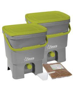 Bokashi Organko Compost Bin Set (2 x 16L) Grey-Lime with 2kg Bokashi Bran