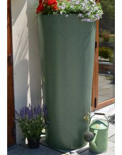 380 Litre Garden Planter Water Butt Green Marble with Tap Kit & Diverter