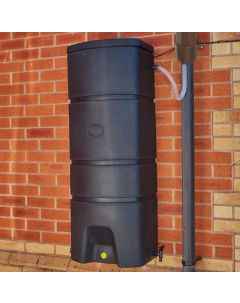 160L Terracottage Wallmounted Water Butt & BROWN Gutter Mate Diverter Bundle