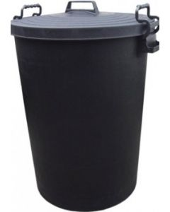 110L Heavy Duty Black Plastic Refuse / Garden Bin with Locking Lid