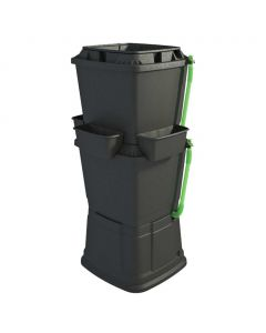 134L Rainwater Terrace Water Butt Planter - 2 Tier - Black
