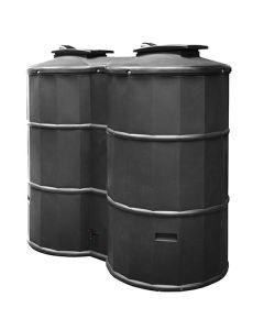 1500L Dual Polytank Water Tank - Black