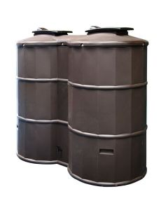 1500L Dual Polytank Water Tank - Oak Brown