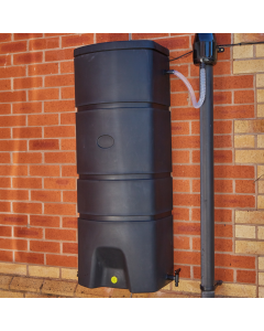 160L Terracottage Wallmounted Water Butt & BLACK Gutter Mate Diverter Bundle