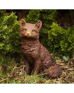 Cast Iron Sitting Fox Statue - Rust