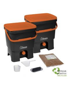 Bokashi Organko Set (2 x 16L) Black-Orange with 2kg Bokashi Bran