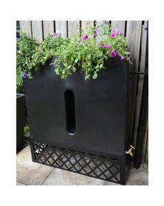 280L Slimline Water Butt Planter - Black