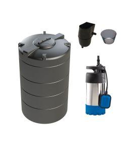 2,000L Vertical Tank Rainwater Harvesting System for Small (50 m2) to Medium (150 m2) Gardens.