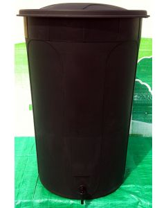 210L Rainfall Harvester Water Butt Black with Lid and Tap