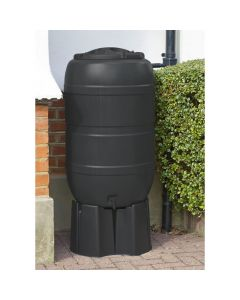 210L Black Standard Barrel Water Butt Complete with Stand & Diverter