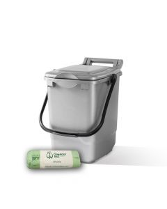 23ltr Silver Kitchen Caddy + 25 Pack of Liners