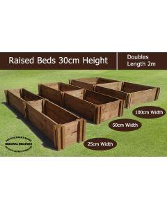 30cm High Double Raised Beds - Blackdown Range - 50cm Wide