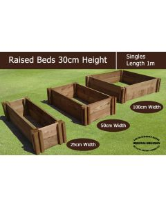 30cm High Single Raised Beds - Blackdown Range - 25cm Wide