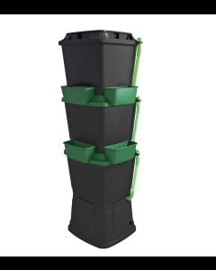 200L Rainwater Terrace Water Butt Planter - 3 Tier - Black & Dark Green