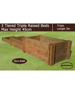 45cm High 3 Tiered Triple Raised Beds - Blackdown Range - 100cm Wide